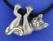 Steven Douglas Cat Necklace, Sterling Silver/14k
