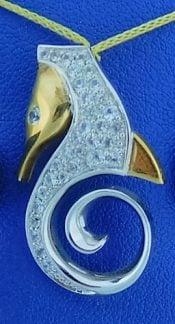 Steven Douglas Seahorse Slide Pendant, Sterling Silver/14k