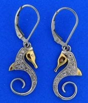 Steven Douglas Seahorse Earrings, Sterling Silver/14k