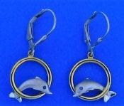 Steven Douglas Dolphin Hoop Earring, Sterling Silver/14k