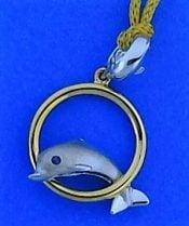 Steven Douglas Dolphin Hoop Pendant, Sterling Silver/14k