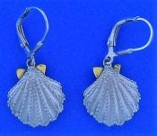 Steven Douglas Scallop Shell Earrings, Sterling Silver/14k