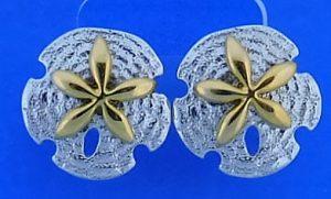 Steven Douglas Sand Dollar Earring, Sterling Silver/14k