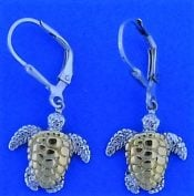 Steven Douglas Sea Turtle Dangle Earrings, Sterling Silver/14k