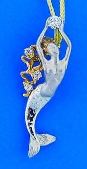 Steven Douglas Mermaid With White Sapphires, Sterling Silver/14k