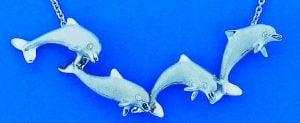 Denny Wong 4 Dancing Dolphin Necklace, Precious Silver