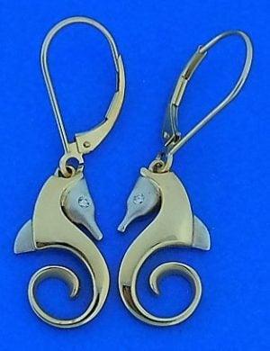 Steven Douglas Seahorse Earrings, 14k 2-Tone