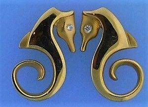 Steven Douglas Seahorse Earrings, 14k Yellow Gold