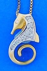 Steven Douglas Diamond Seahorse Pendant, 14k