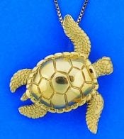 Steven Douglas Sea Turtle Pendant, 14k Yellow Gold