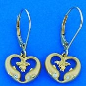 Steven Douglas Dolphin Heart Earrings, 14k