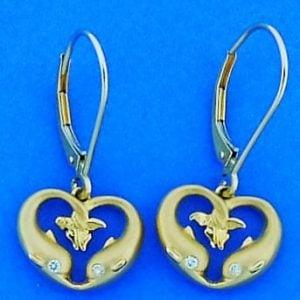 Steven Douglas Dolphin Heart Earrings, 14k