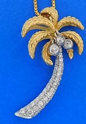 Denny Wong Diamond Palm Tree Pendant, 14k 2-Tone