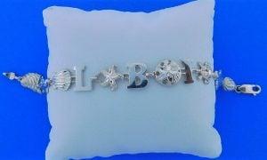 "Lbi Sealife Bracelet, Sterling Silver-8"""