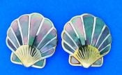 Scallop Shell Inlay Mother Of Pearl Earrings, Sterling Silver