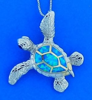 Sea Turtle Opal Pendant/Slide, Sterling Silver