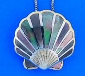 Scallop Shell Inlay Mother Of Pearl Pendant, Sterling Silver
