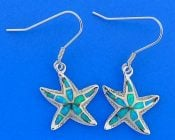 Starfish Opal Earrings, Sterling Silver