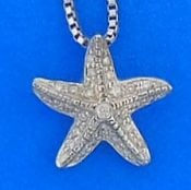 Starfish Diamond Pendant, 14k White Gold
