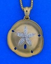Sand Dollar Diamond Pendant, 14k