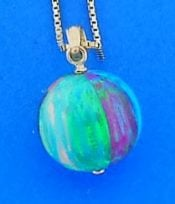 Beach Ball Opal Pendant, 14k
