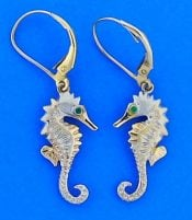Seahorse Dangle Earrings 3d, 14k 2-Tone