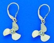 Propeller Dangle Lever Back Earrings, 14k