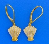 Scallop Shell Diamond Dangle Earrings, 14k