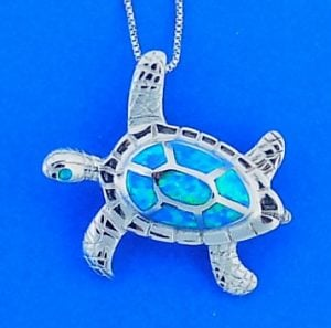 Sea Turtle Opal Inlay Pendant, Sterling Silver