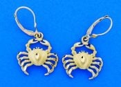 Diamond-Cut Crab Dangle Lever Back Earrings, 14k