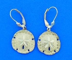 Sand Dollar Diamond-Cut Dangle Lever Back Earrings, 14k