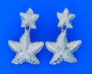 Double Starfish Post Earrings, 14k White Gold