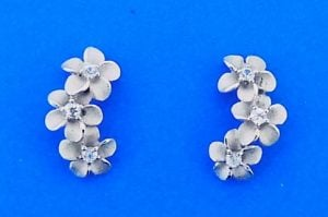 Denny Wong 3 Plumeria Post Earrings.Precious Silver