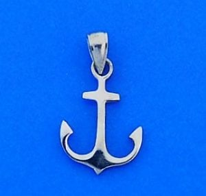 Anchor 3d Pendant/Charm, 14k White Gold