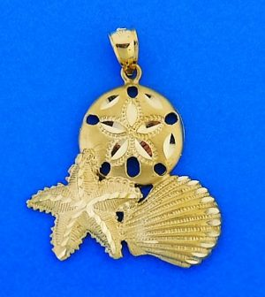 Diamond-Cut Sealife Pendant, 14k