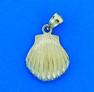 Diamond-Cut Shell Pendant/Charm, 14k