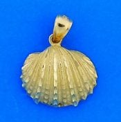 Diamond-Cut Shell Pendant, 14k