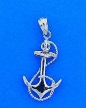 Anchor Pendant 3d, 14k White Gold