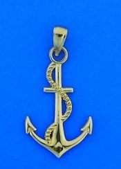 Anchor 3d Pendant, 14k