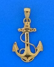 Anchor 2d Pendant, 14k