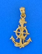 Anchor Ship Wheel Pendant, 14k