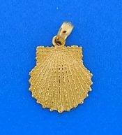 Scallop Shell Pendant, 14k Beaded Gold