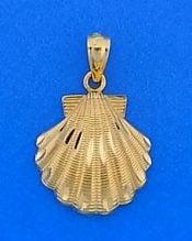 Scallop Shell Charm/Pendant, 14k Diamond-Cut