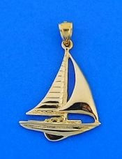 Sailboat Pendant, 14k