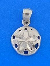 Sand Dollar Diamond-Cut Charm/Pendant, 14k White Gold