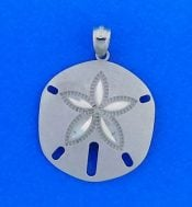Sand Dollar Sandblast, Diamond-Cut Pendant, 14k White Gold