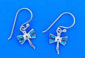 Dragon Fly Opal Inlay Dangle Earrings, Sterling Silver