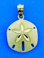Sand Dollar Charm/Pendant, 14k Yellow Gold