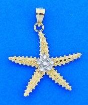 Starfish Pendant Diamond-Cut, 2d, 14k 2-Tone