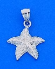 Diamond-Cut Starfish Charm/Pendant, 14k White Gold